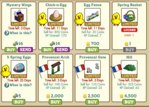 Novedades en el market de farmville 1
