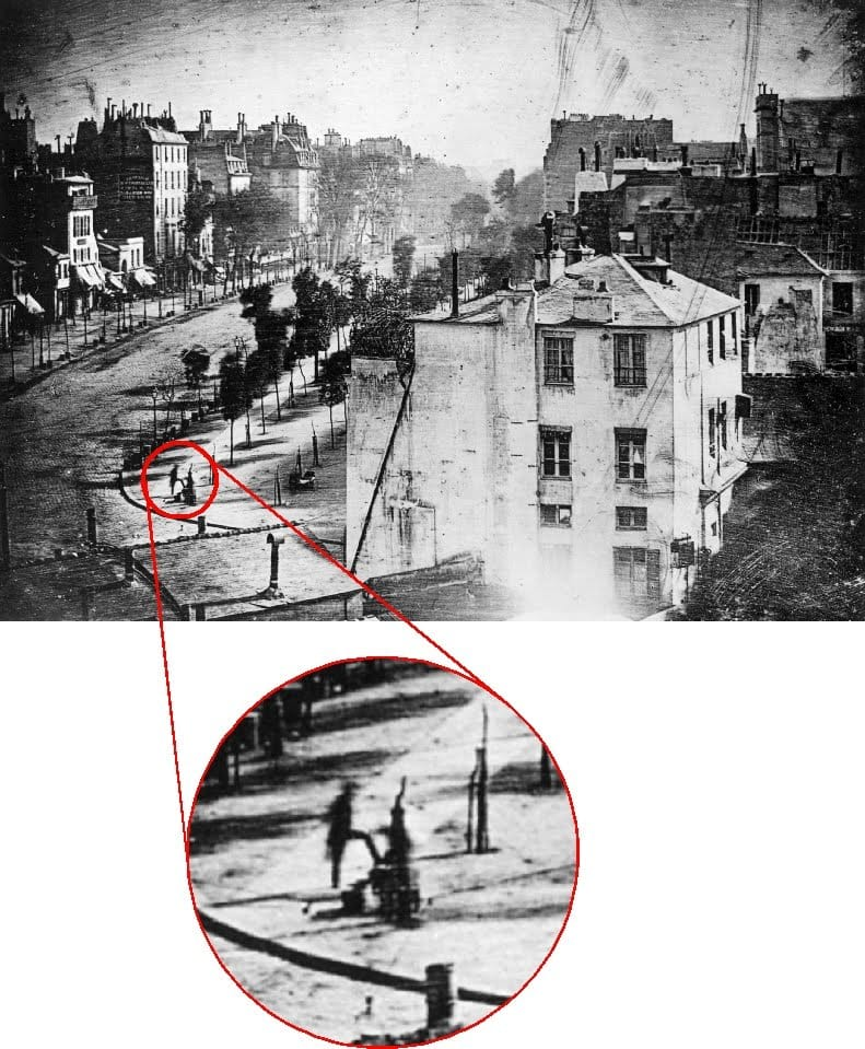 Primera foto de un ser humano en 1838