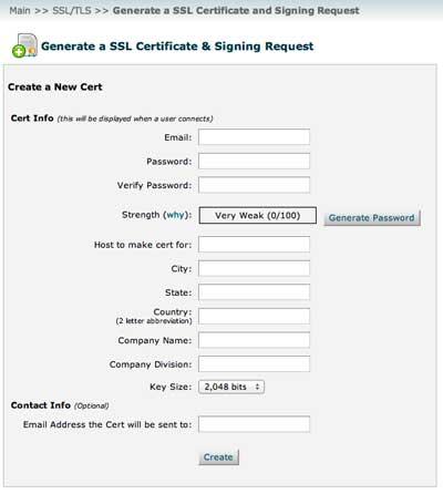 Generamos CSR en WHM para el certificado SSL