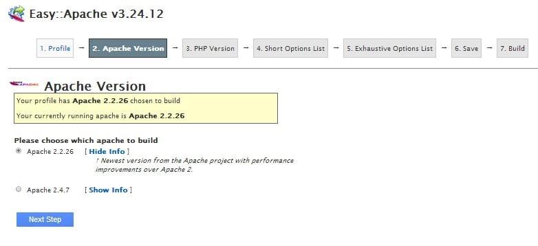 easyapache WHM: PHP y Apache