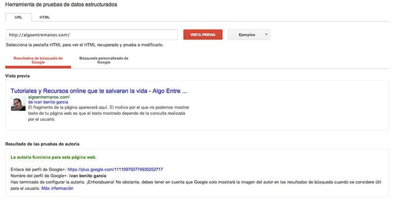 Herramienta de pruebas de datos estructurados de google