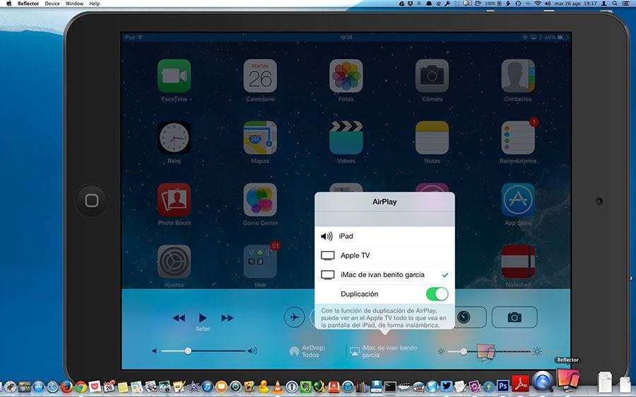 Captura de pantallla: Programa Reflector y Mac (grabación video iPad)