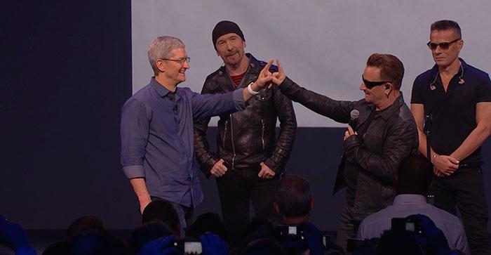 U2 en el evento Apple del 9 de Septiembre de 2014