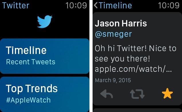 Twitter app Apple Watch