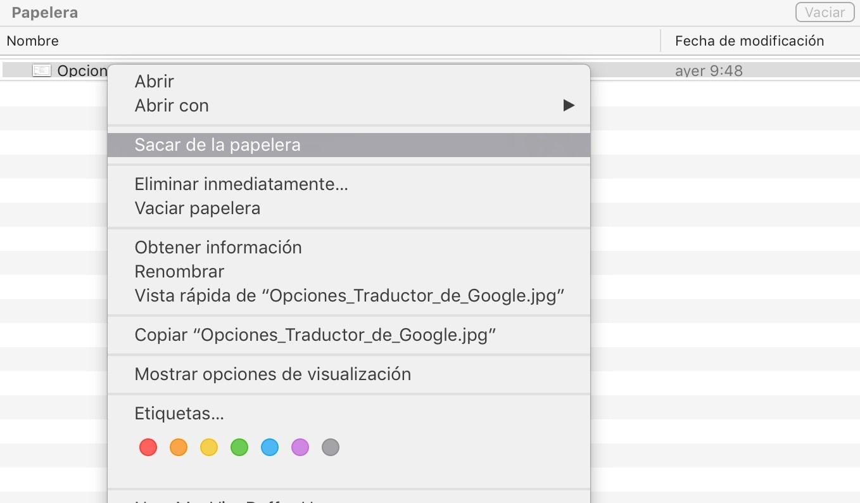 Cómo recuperar archivos borrados y enviados a la papelera en un Mac: Sacar de la papelera