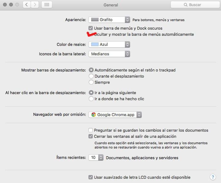 Cómo ocultar la barra de menús en OS X (Mac)