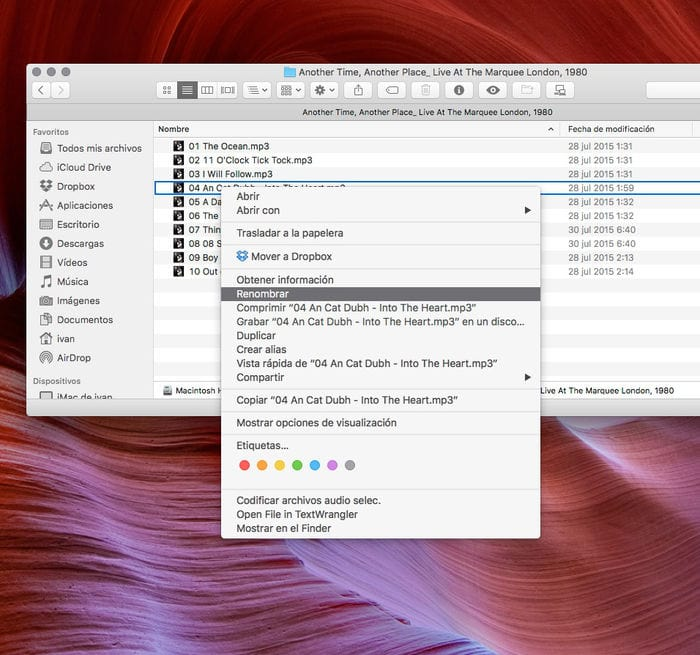 Cambiar el nombre de una archivo con el menú que aparece al hacer clic en el botón derecho del ratón