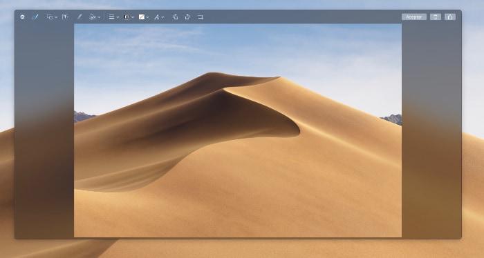 captura de pantalla mejorada dentro del SO de Apple MacOs Mojave