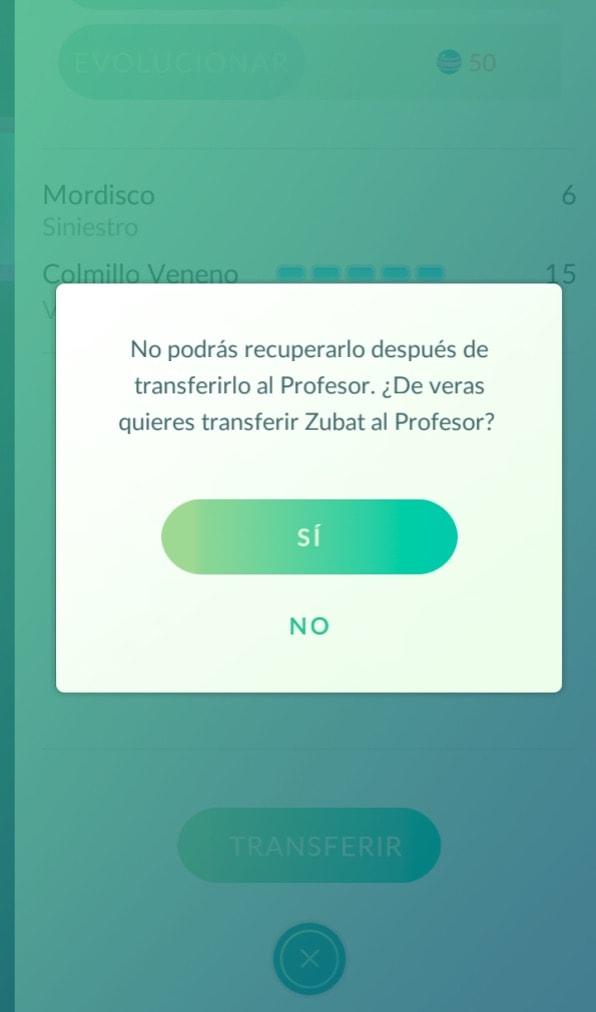 Pokemon go transferir Pokemon