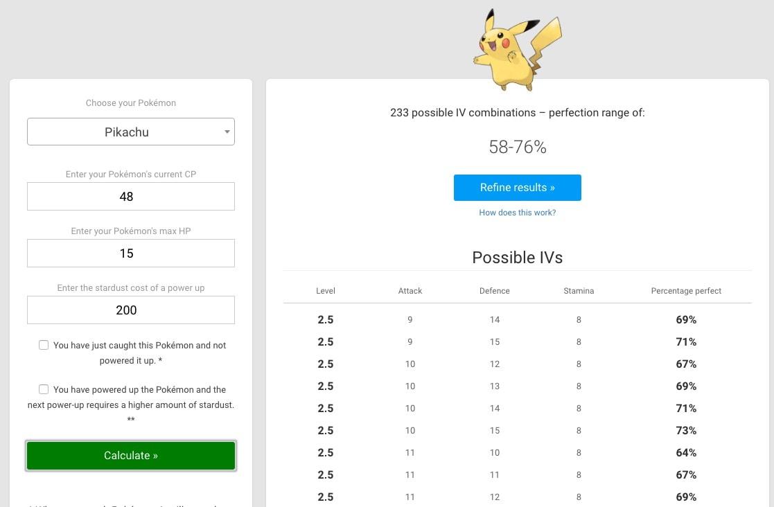 Pikachu_Pokémon_Go_IV_calculator