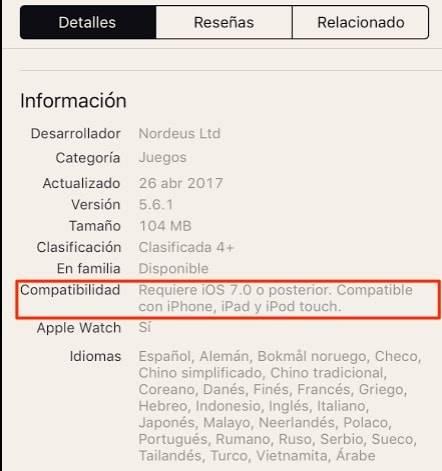 Compatibilidad de las aplicaciones de iOS