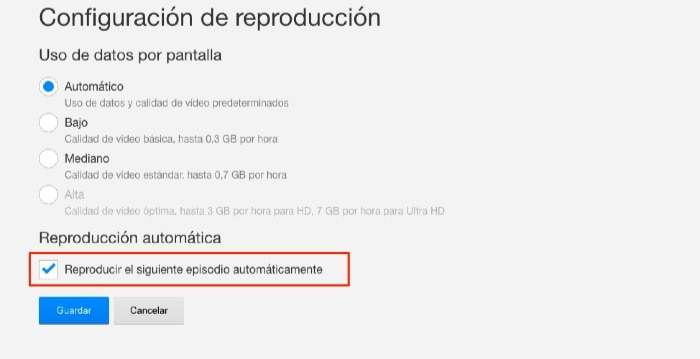 Reproducción automática Netflix