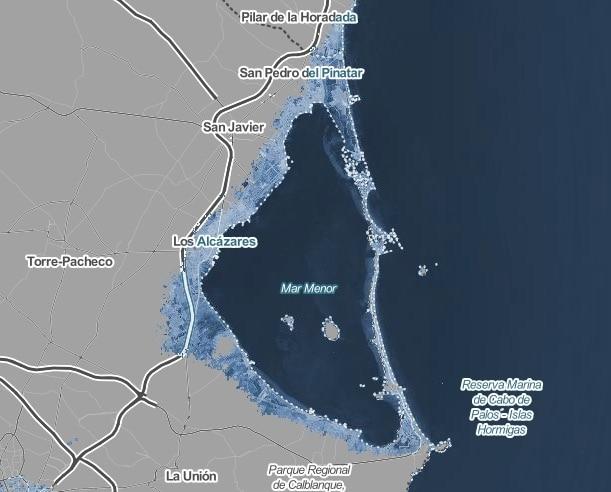 Mar Menor, Murcia, despues de aumento temperatura en 4ºC