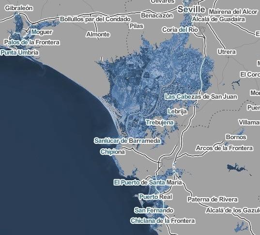 Sevilla, Chipiona y el Puerto de Santa María despues de aumento temperatura en 4ºC