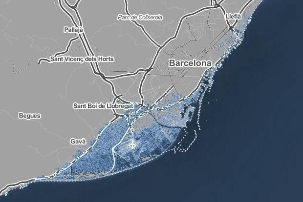 Barcelona despues de aumento temperatura en 4ºC