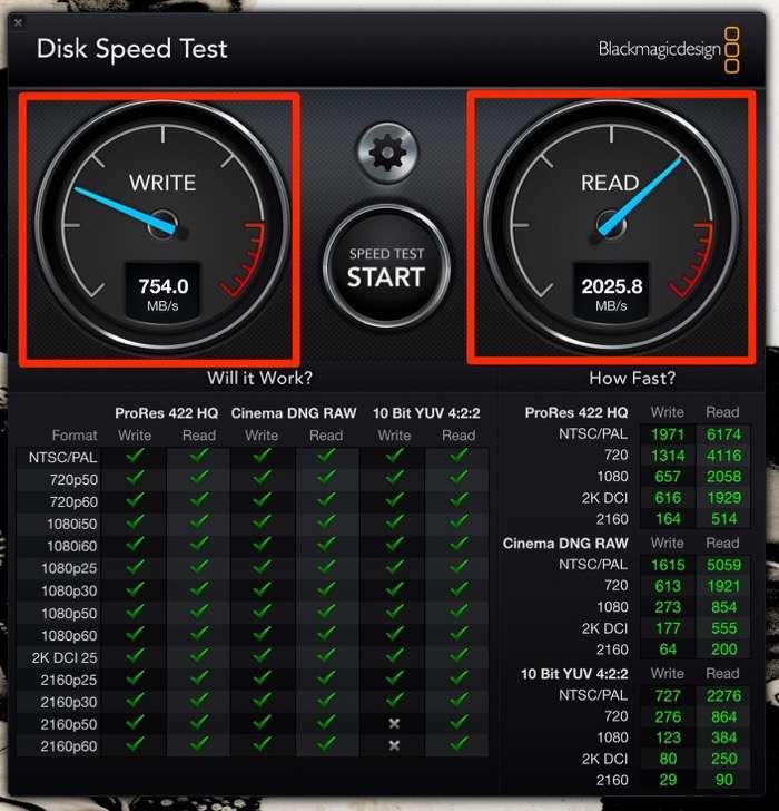 Blackmagic Design Disk Speed Test mac