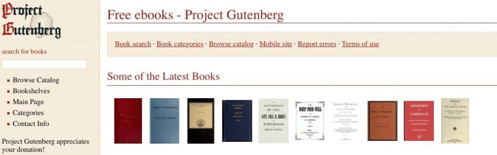 ebooks gratis en ingles para Kindle, iPad y eReaders en Project Gutenberg
