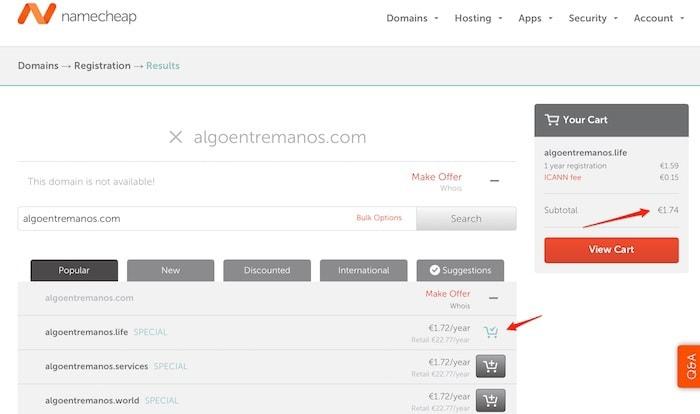 Guía para comprar un dominio en Namecheap