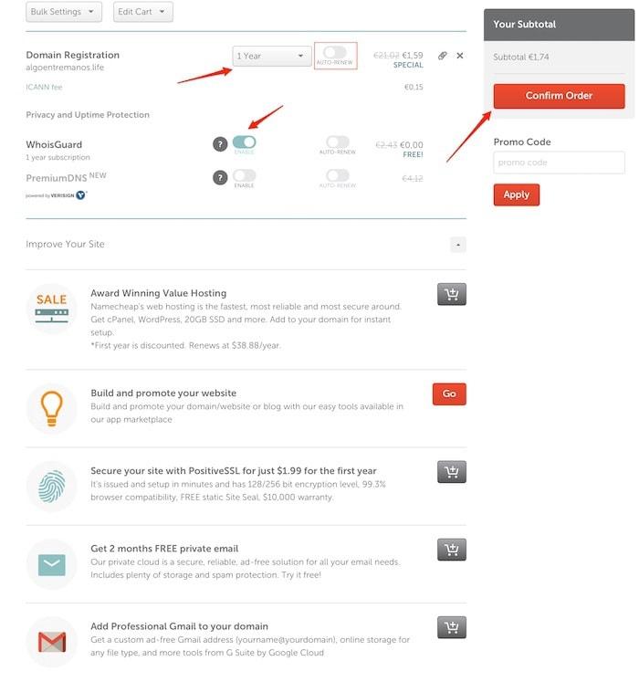 como comprar dominios en Namecheap