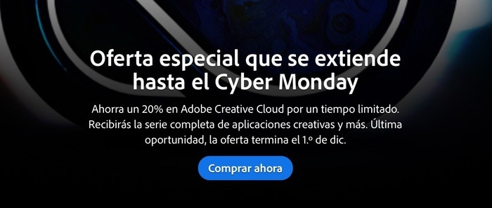 Adobe Cloud: Oferta de suscripción con 20% de descuento