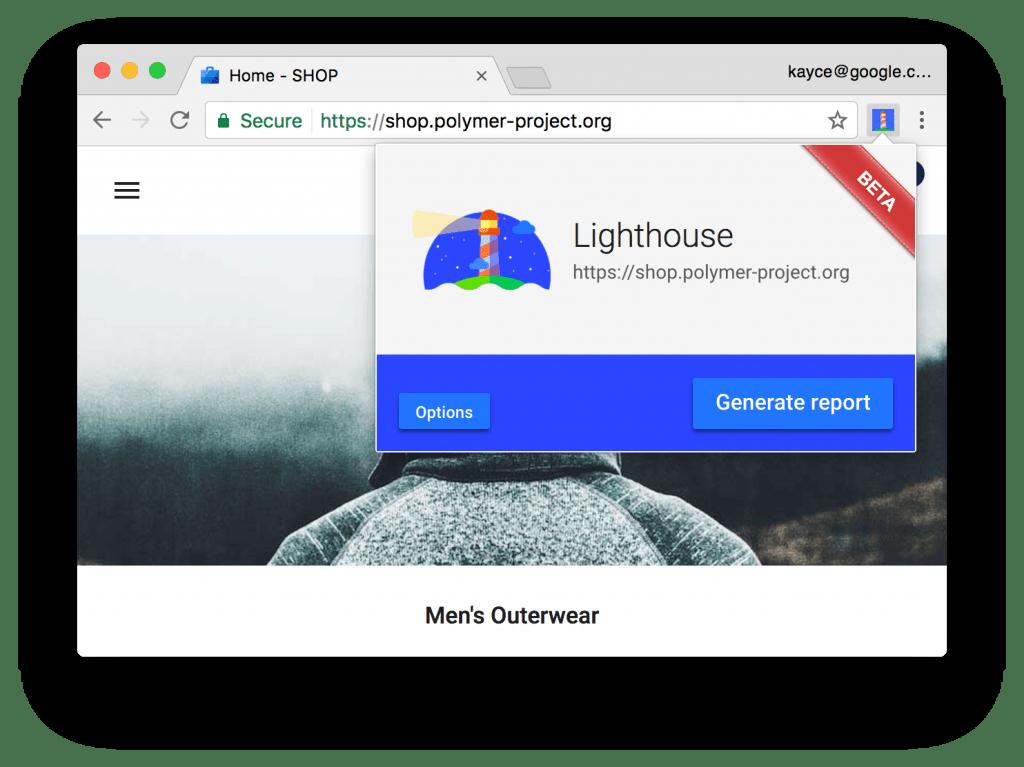 Lighthouse como extensión de Chrome