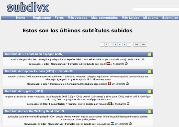 Dónde descargar subtítulos: SubDivX.com