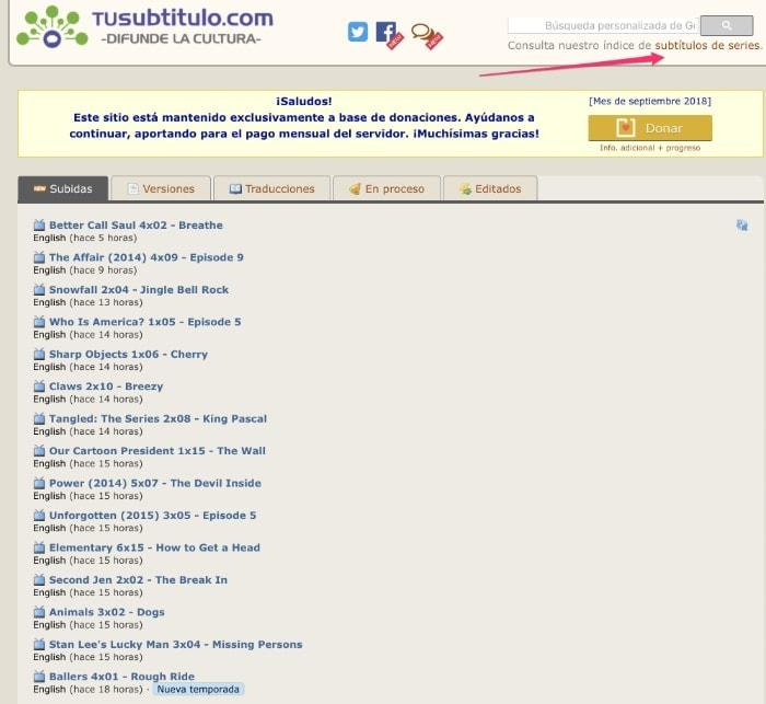Dónde descargar subtítulos: www.tusubtitulo.com