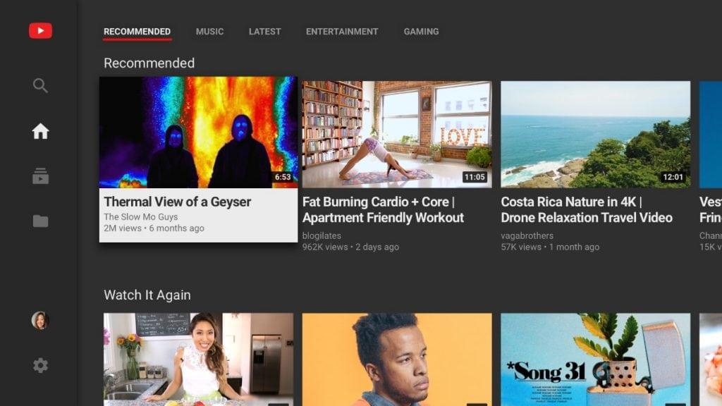 YouTube para el Fire TV