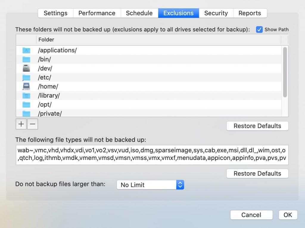 backblaze archivos excluidos