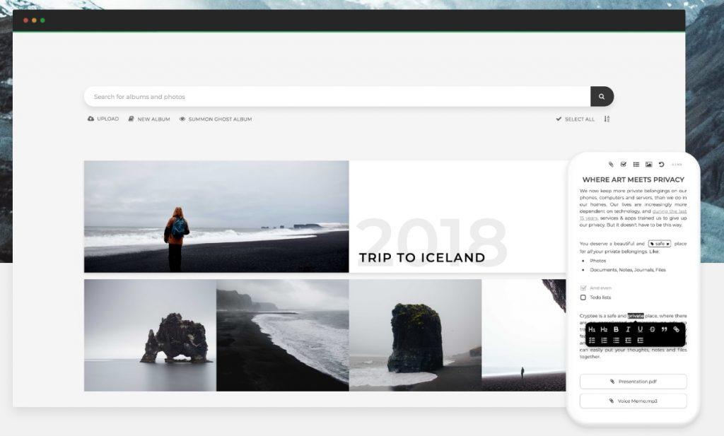 alternativa google fotos: cryptee