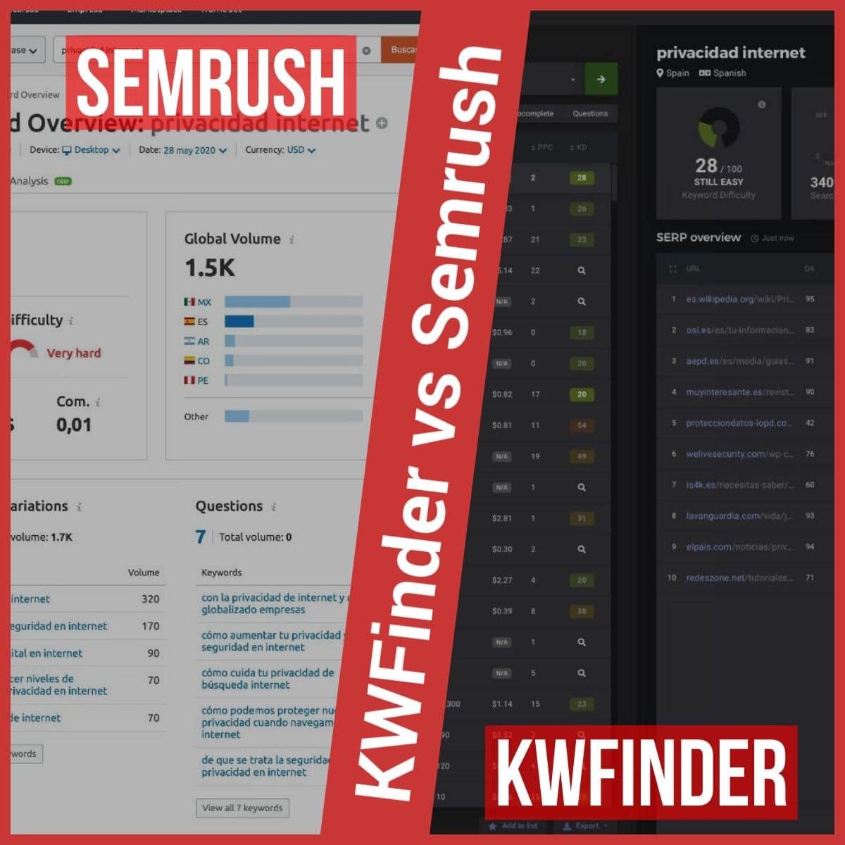 KWFinder vs Análisis de palabras clave de Semrush