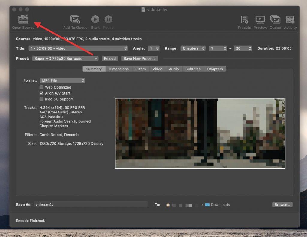 Abres HandBrake y seleccionas el vídeo que quieres convertir o reducir de tamaño