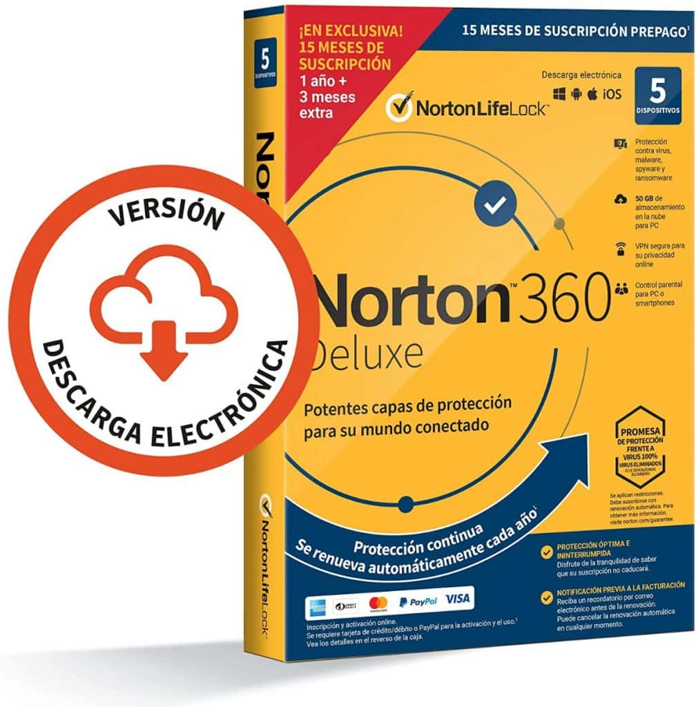 Norton 360 Deluxe 2021 - Antivirus software para 5 Dispositivos