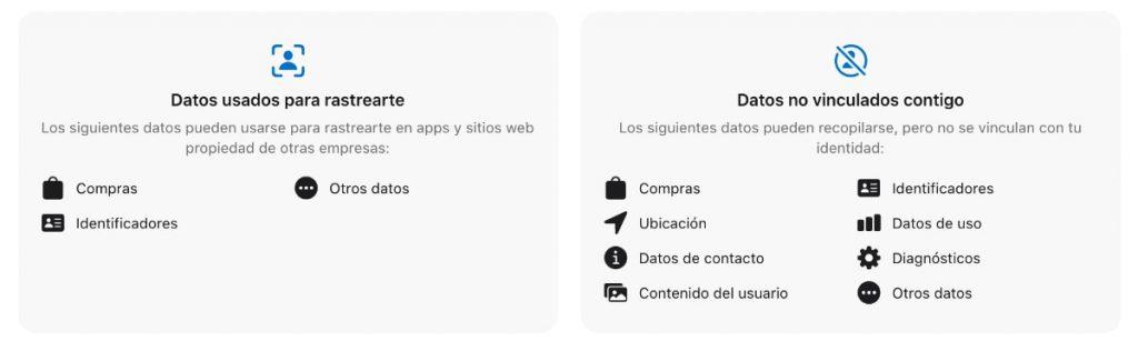 datos privacidad iOS en apps