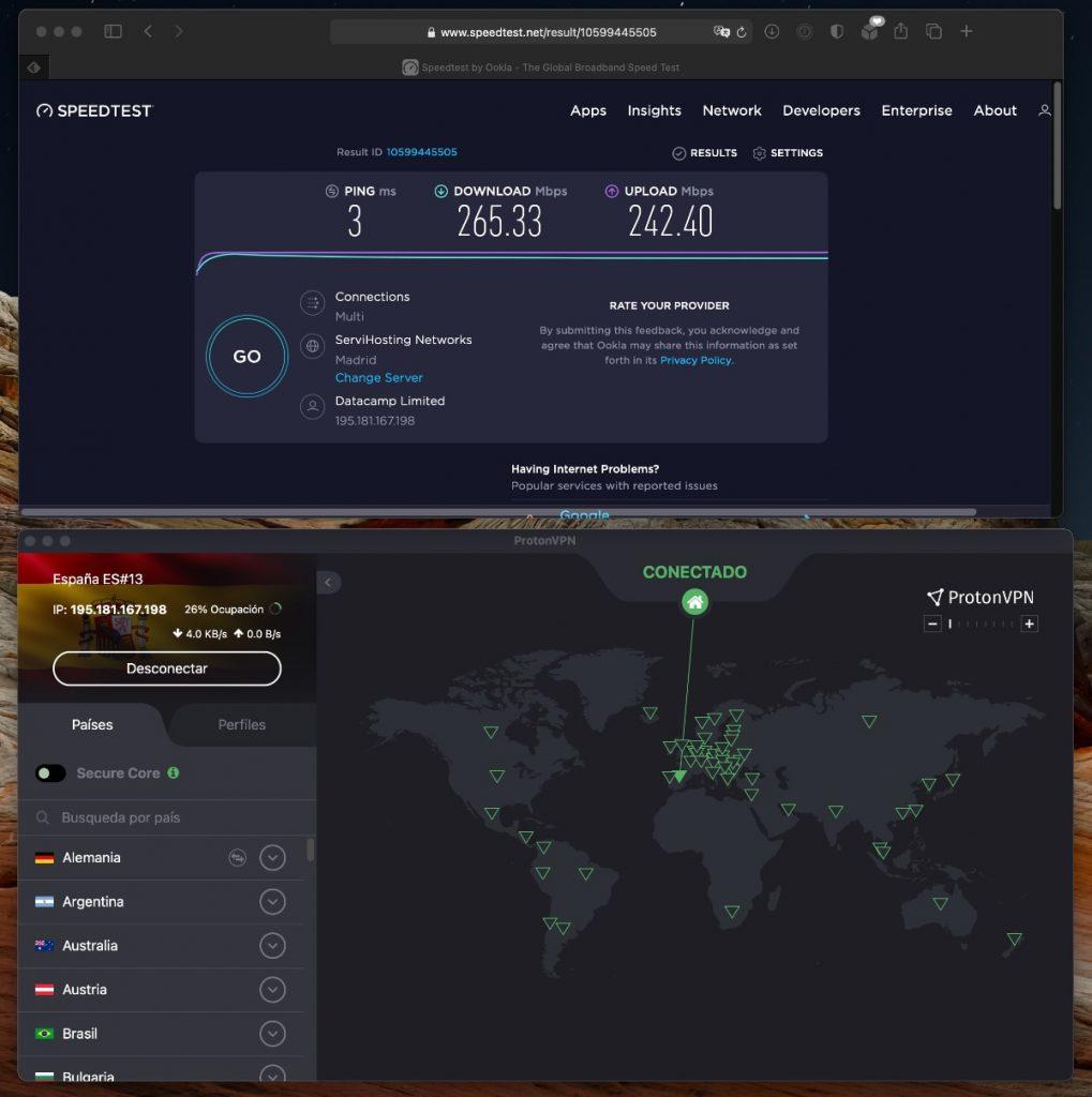 ProtonVPN: velocidad servidores