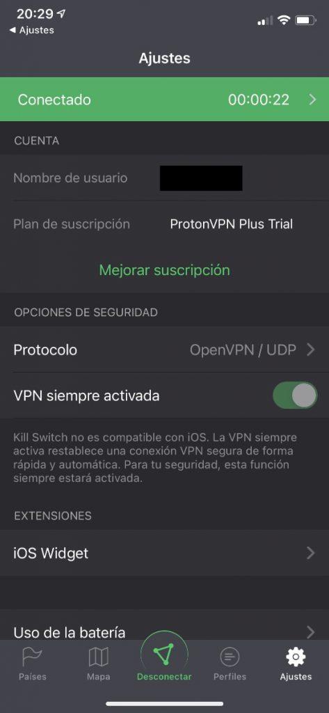 app para móviles ProtonVPN iOS