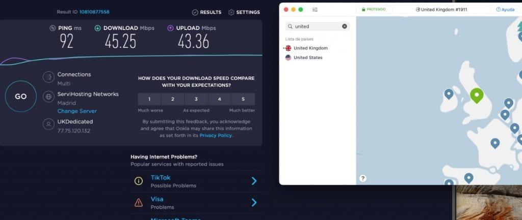 Velocidad servidor NordVPN en UK