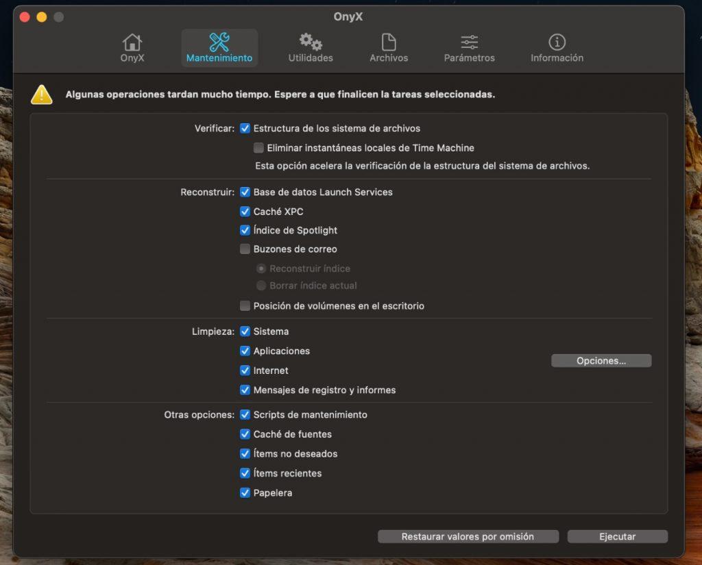 Onyx (gratis). Programa para limpiar y reparar los permisos de tu Mac