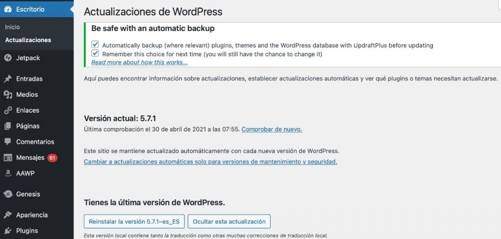 Tienes que mantener actualizado WordPress