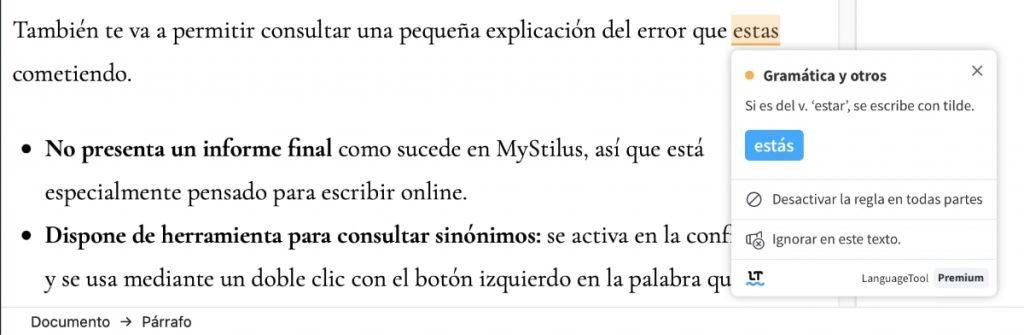 consulta error languagetool