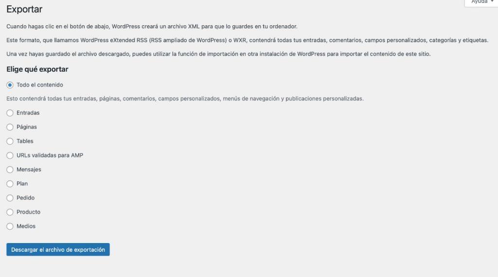 Generar un archivo WordPress WXR a través del panel de administración de nuestro blog