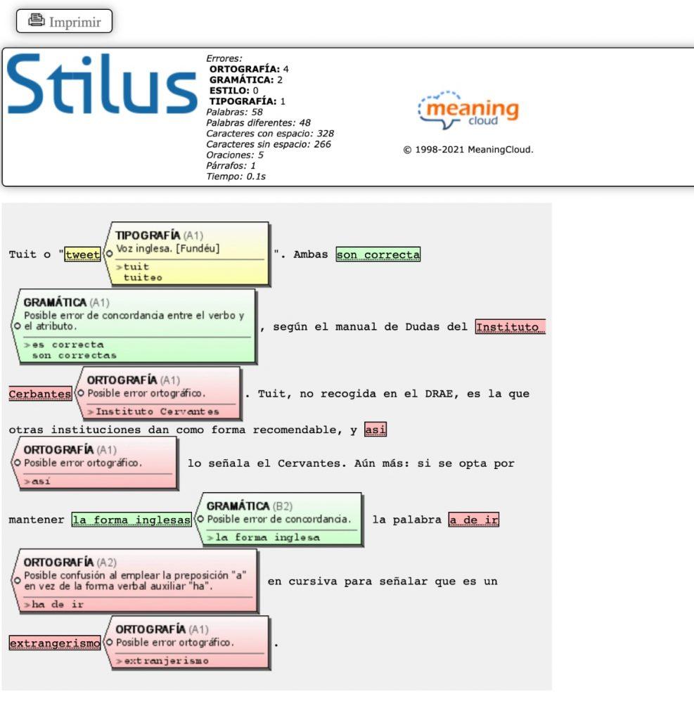 mystilus corrector: informe errores